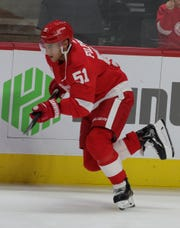 Red Wings center Valtteri Filppula on the ice before the Wings' 4-3 overtime preseason loss to the Islanders on Friday, Sept. 20, 2019, at Little Caesars Arena.