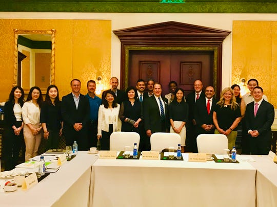 Representatives from the MEDC International Trade team, Automation Alley, AMCHAM, Michigan China Center SelectUSA and Michigan businesses on a trade mission to China and Thailand on Sept. 16, 2019, at Ritz Carlton in Guangzhou.