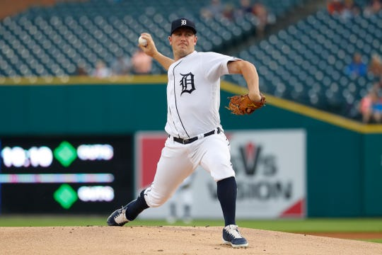Tigers pitcher Jordan Zimmermann throws in the first inning on Friday, Sept. 20, 2019, at Comerica Park.