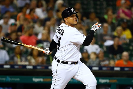 Tigers designated hitter Miguel Cabrera hits an RBI single in the third inning on Friday, Sept. 20, 2019, at Comerica Park.