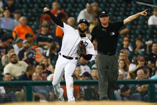 Tigers third baseman Ronny Rodriguez makes a throw to first in the third inning on Friday, Sept. 20, 2019, at Comerica Park.