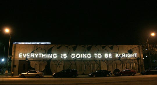 "Martin Creed's neon work ""Everything Is  Going to Be Alright"" is displayed on the facade of MOCAD."
