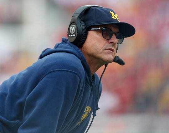 Michigan Wolverines head coach Jim Harbaugh looks on during the first quarter against the Wisconsin Badgers at Camp Randall Stadium, Sept. 21, 2019 in Madison, Wis.