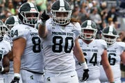 Michigan State tight end Matt Seybert (80) recorded the first two touchdown catches of his career on Saturday.