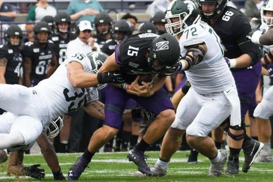Michigan State linebacker Joe Bachie (35) recorded a career-high 14 tackles in Saturday's win at Northwestern.