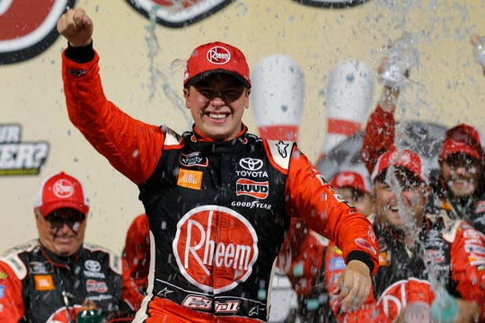 Christopher Bell celebrates his NASCAR Xfinity Series win at Richmond Raceway on Friday.