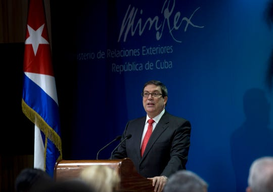 Cuba's Foreign Minister Bruno Rodriguez speaks during a press conference, in Havana, Cuba, Friday, Sept. 20, 2019. Rodriguez says the U.S. expulsion of two Cuban diplomats and energy shortages across the island are part of a Trump administration offensive that will fail to force concessions by his government.