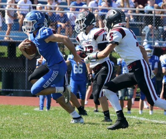 Gavin Elston of Horseheads breaks free for a touchdown against Elmira on Sept. 21, 2019 at Horseheads High School.