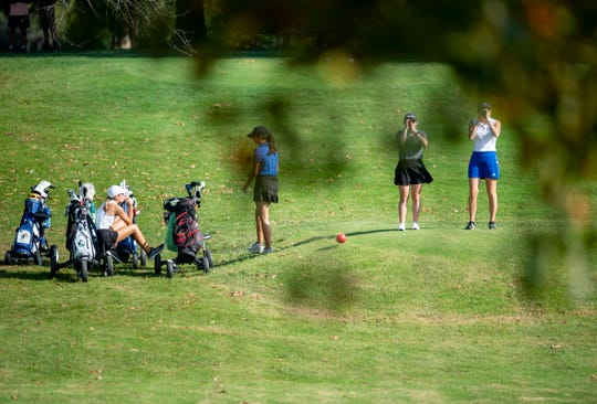 From left to right: North's Abby Whittington, Memorial's Mallory Russell, North Posey's Haylee Exline and Castle's Carly Frazier prepare for the fourth tee in the sectional on Saturday.