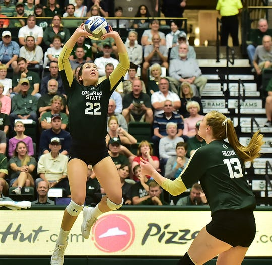 Colorado State volleyball player Katie Oleksak sets the ball for teammate Kirstie Hillyer during a win over Oregon State on Friday, Sept. 20, 2019, at Moby Arena. CSU, ranked No. 15 in the nation, plays home matches against Fresno State at 7 p.m. Thursday and San Diego State at 1 p.m. Saturday.