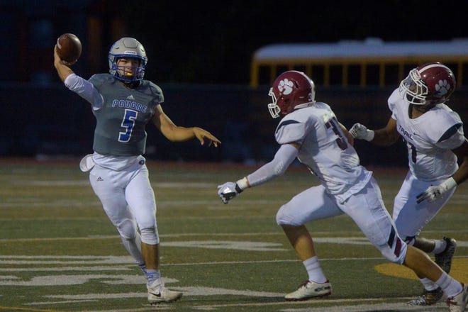 Poudre High School football quarterback Sergio Tarango, shown throwing a pass during a Sept. 20, 2019, win over Cherokee Trail, and his teammates will face cross-town rival Fort Collins at 7 p.m. Friday at French Field.