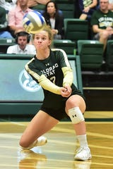 CSU volleyball player Olivia Nicholson, shown digging a ball during a win Friday over Oregon State, and her teammates open Mountain West play at 7 p.m. Thursday against New Mexico at Moby Arena.