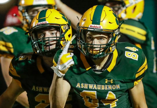 Ashwaubenon wide receiver Luke Schroeder (84) has been a big part of the Jaguars' 7-2 record, their most successful season since winning nine games in 2014.