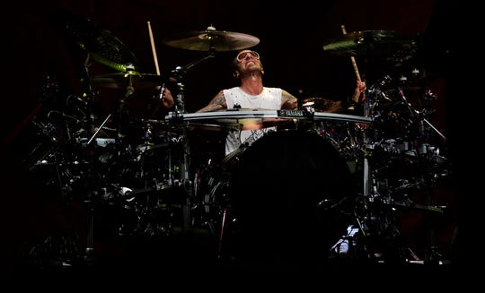 Godsmack drummer Shannon Larkin performs during a concert on Sept. 20, 2019, at the Resch Center in Ashwaubenon, Wis.