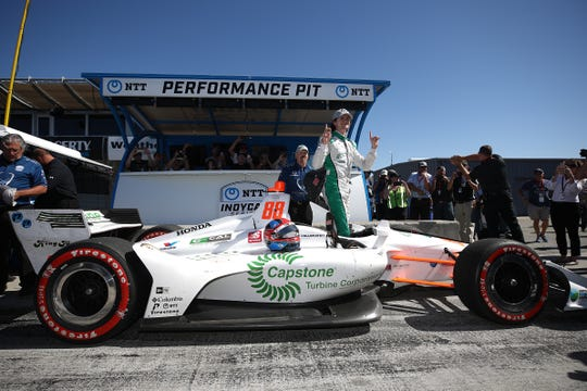 Colton Herta #88 of United States and Capstone Turbine Honda reacts after winning the pole position during qualifying for the NTT IndyCar Series Firestone Grand Prix of Monterey at WeatherTech Raceway Laguna Seca on September 21, 2019 in Monterey, California.
