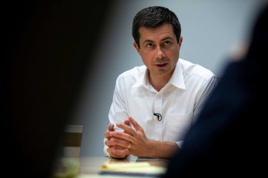 Pete Buttigieg, South Bend, Indiana Mayor, meets with the Des Moines Register Editorial Board on July 27, 2019, at the Register's office in Des Moines.