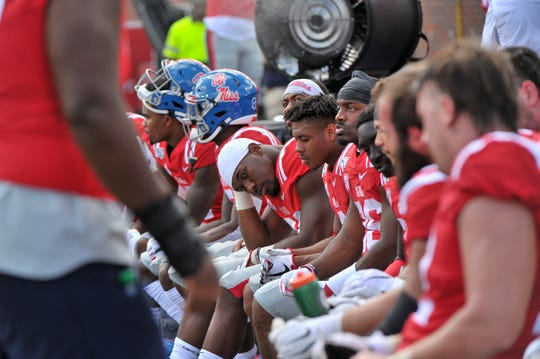 Ole Miss players during the second half against the California Golden Bears at Vaught-Hemingway Stadium on Sept. 21, 2019 in Oxford, Mississippi.