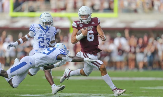 Mississippi State's Garrett Shrader (6) breaks free for a long run in the second quarter. Mississippi State and Kentucky played in an SEC college football game on Saturday, September 21, 2019 at Davis Wade Stadium in Starkville. Photo by Keith Warren