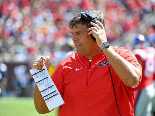 Ole Miss head coach Matt Luke watches on during the first half of an NCAA college football game between Mississippi and California in Oxford, Miss., Saturday, Sept. 21, 2019.