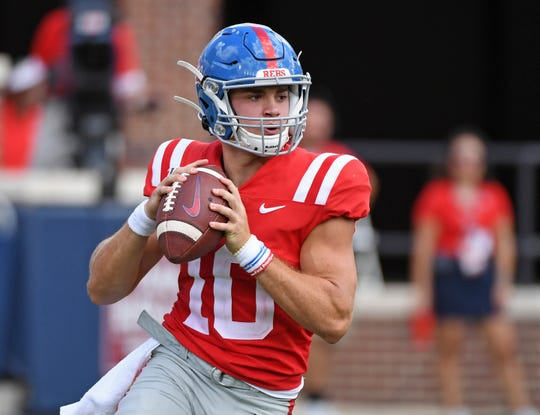 Mississippi quarterback John Rhys Plumlee (10) looks to pass during the second half of an NCAA college football game against California in Oxford, Miss., Saturday, Sept. 21, 2019. California won 28-20. (AP Photo/Thomas Graning)