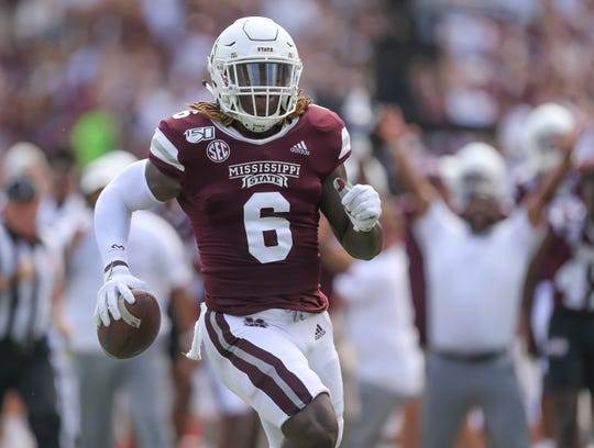 Mississippi State's Willie Gay Jr. (6) returns an interception for a touchdown in the first quarter against on Sept. 21, 2019 at Davis Wade Stadium in Starkville.