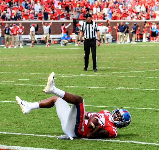 Mississippi wide receiver Elijah Moore (8) is down short of the goal line as time runs out against California at Vaught-Hemingway Stadium in Oxford, Miss. on Saturday, September 21, 2019. California won 28-20. (Bruce Newman, Oxford Eagle via AP)