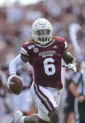 Mississippi State's Willie Gay Jr. (6) returns an interception for a touchdown in the first quarter. Mississippi State and Kentucky played in an SEC college football game on Saturday, September 21, 2019 at Davis Wade Stadium in Starkville. Photo by Keith Warren