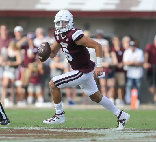 Mississippi State's Garrett Shrader (6) rolls out in the second half. Mississippi State and Kentucky played in an SEC college football game on Saturday, September 21, 2019 at Davis Wade Stadium in Starkville. Photo by Keith Warren