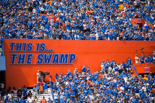 Florida fans are seen during a SEC game between the Tennessee Vols and Florida Gators in Gainesville, Fla. Saturday, Sept. 21, 2019.
