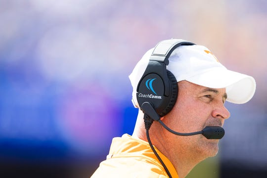 Tennessee Head Coach Jeremy Pruitt looks on during an SEC football game between Tennessee and Florida at Ben Hill Griffin Stadium in Gainesville, Florida on Saturday, September 21, 2019.