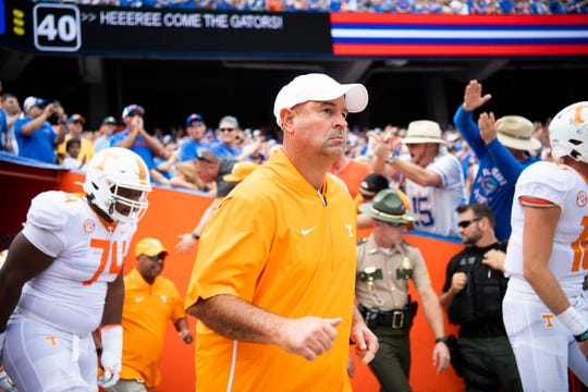 Tennessee Head Coach Jeremy Pruitt enters the stadium during an SEC football game between Tennessee and Florida at Ben Hill Griffin Stadium in Gainesville, Florida on Saturday, September 21, 2019.