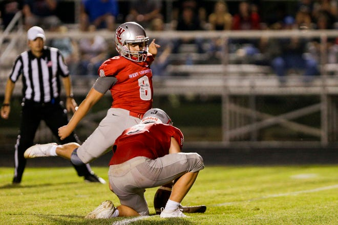 West Lafayette kicker Caleb Krockover (8) kicks the ball to attempt an extra point during the fourth quarter of an IHSAA football game, Friday, Sept. 20, 2019 in West Lafayette. West Lafayette won 44-6.