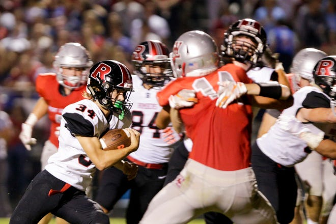 Rensselaer's Addison Wilmington (34) runs the ball during the second quarter of an IHSAA football game, Friday, Sept. 20, 2019 in West Lafayette. West Lafayette won 44-6.