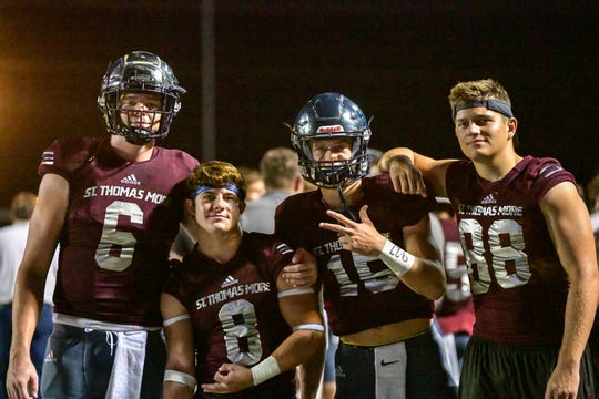 Seniors Caleb Holstein and Noah Frederick, shown among teammates Sept. 20, are focused on getting a state championship in their final season.