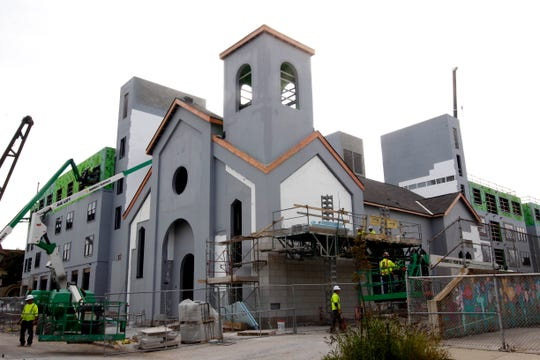Construction is underway at St. Rita Church on North Cass Street in Milwaukee.