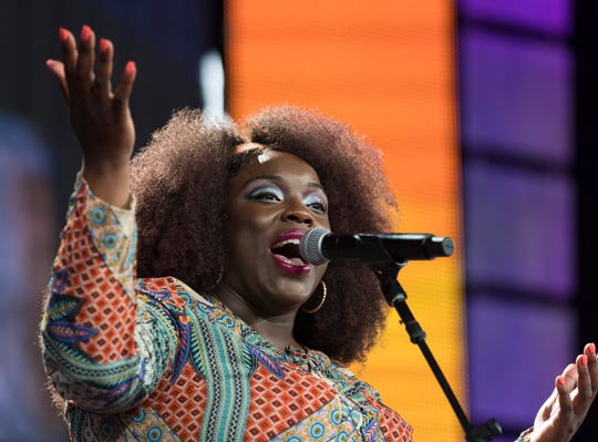 English singer-songwriter Yola performs at Farm Aid Saturday, Sept. 21, 2019, at Alpine Valley Music Theatre in East Troy, Wis. It was the second time Farm Aid is taking place in Wisconsin in the 34-year-old nonprofit's history, and the first Farm Aid performance for Yola, who released her first solo album earlier this year.