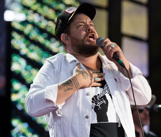 Nathaniel Rateliff and The Night Sweats  perform at Farm Aid Saturday, Sept. 21, 2019 at Alpine Valley Music Theatre in East Troy, Wis.