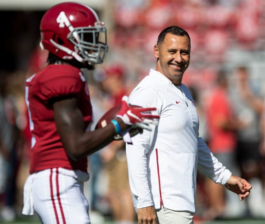 Alabama offensive coordinator Steve Sarkisian with wide receiver Jerry Jeudy (4) before the Southern Miss game at Bryant-Denny Stadium in Tuscaloosa, Ala., on Saturday September 21, 2019.