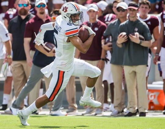 Auburn wide receiver Anthony Schwartz (5) breaks free for a touchdown run at Kyle Field in College Station, Texas, on Saturday, Sept. 21, 2019. Auburn leads Texas A&M 14-3 at halftime.