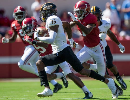 Alabama linebacker Christopher Allen (4) and defensive back Trevon Diggs (7) close in on Southern Miss wide receiver Quez Watkins (16) at Bryant-Denny Stadium in Tuscaloosa, Ala., on Saturday September 21, 2019.