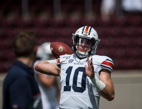 Auburn quarterback Bo Nix (10) throws the ball during warm ups at Kyle Field in College Station, Texas, on Saturday, Sept. 21, 2019.