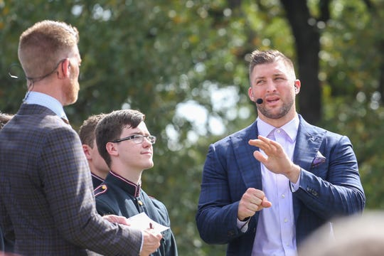 Sep 21, 2019; College Station, TX, USA; SEC Nation commentator Tim Tebow talks during the pre-game show before the start of the game between against the Texas A&M Aggies and Auburn Tigers at Kyle Field. Mandatory Credit: John Glaser-USA TODAY Sports
