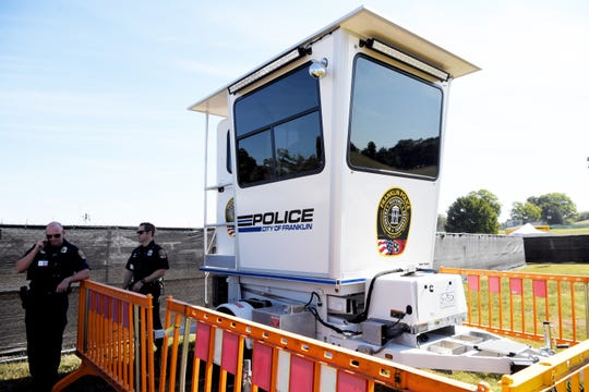 Franklin Police brought its Police Tower purchased to provide security at the Pilgrimage Music & Cultural Festival at The Park at Harlinsdale Saturday, Sept. 21, 2019 in Franklin, Tenn.