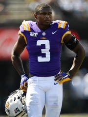 LSU safety JaCoby Stevens (3) rest during a timeout in the second quarter during their against Vanderbilt game at Vanderbilt Stadium Saturday, Sept. 21, 2019 in Nashville, Tenn.
