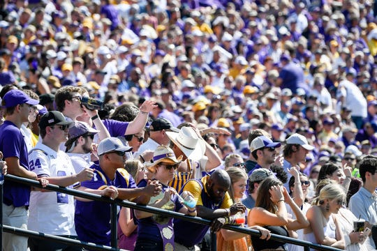 LSU fans watch their team face Vanderbilt during the second half at Vanderbilt Stadium in Nashville, Tenn., Saturday, Sept. 21, 2019.