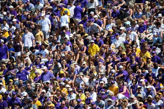 LSU fans watch their team face Vanderbilt during the first half at Vanderbilt Stadium in Nashville, Tenn., Saturday, Sept. 21, 2019.