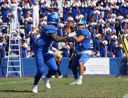 Tennessee State quarterback Cameron Rosendahl before throwing the ball to Steven Newbold during Saturday's game against Arkansas-Pine Bluff at Hale Stadium.