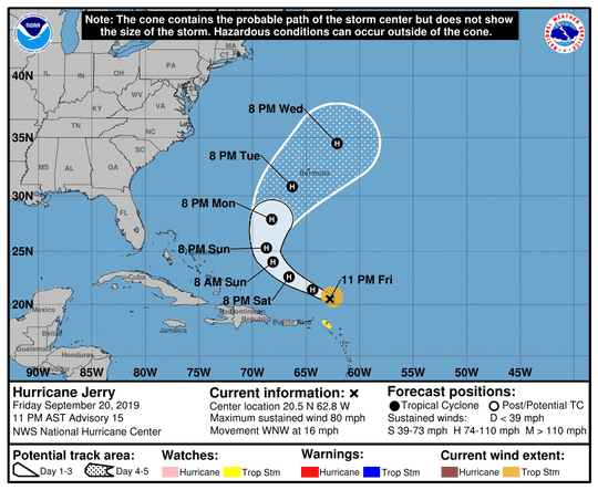 Hurricane Jerry's projected path as of 11 p.m. AST Friday, Sept. 20, 2019.
