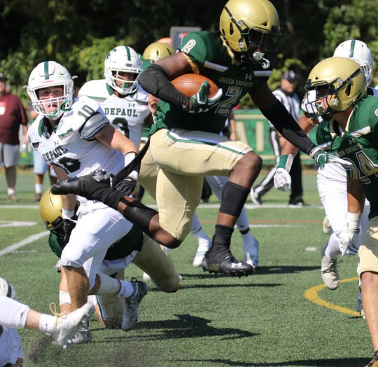 Audric Estime of St. Joseph running the ball in the second half against DePaul during their game in Montvale on September 21, 2019.