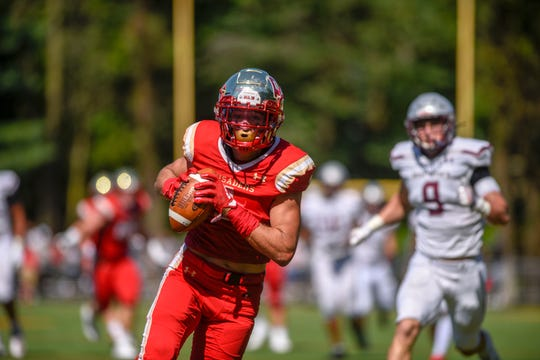 St. Peter's Prep football at Bergen Catholic on Saturday, September 21, 2019. BC #1 Pierson Tobia scores a touchdown in the second quarter.